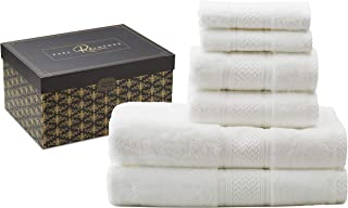 Rare Indulgence 100% Egyptian Cotton Extra Large 6 Piece Luxury Hotel Quality Towel Set 880 Gram.Beautiful Gift Boxed Perfect for Your Home or Housewarming, Christmas, Wedding, Engagement Present.