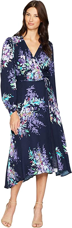 Primal Petals Rayon Snake Jacquard Yael Dress
