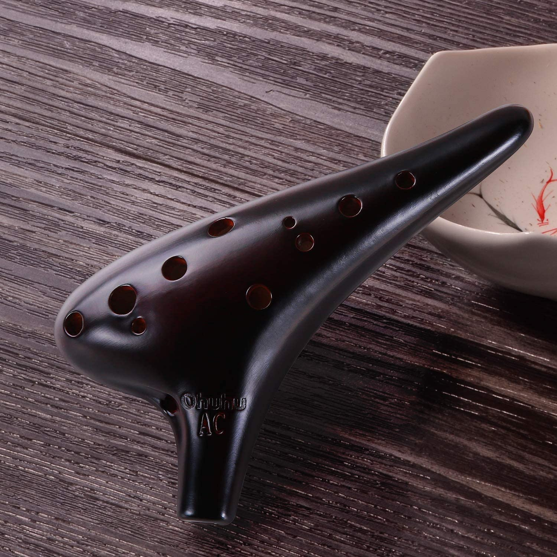 in ceramica stile sottomarino flauto alto C Ocarina a 12 fori per principianti e amanti della musica strumento musicale con spartito marrone con striature effetto bruciatura