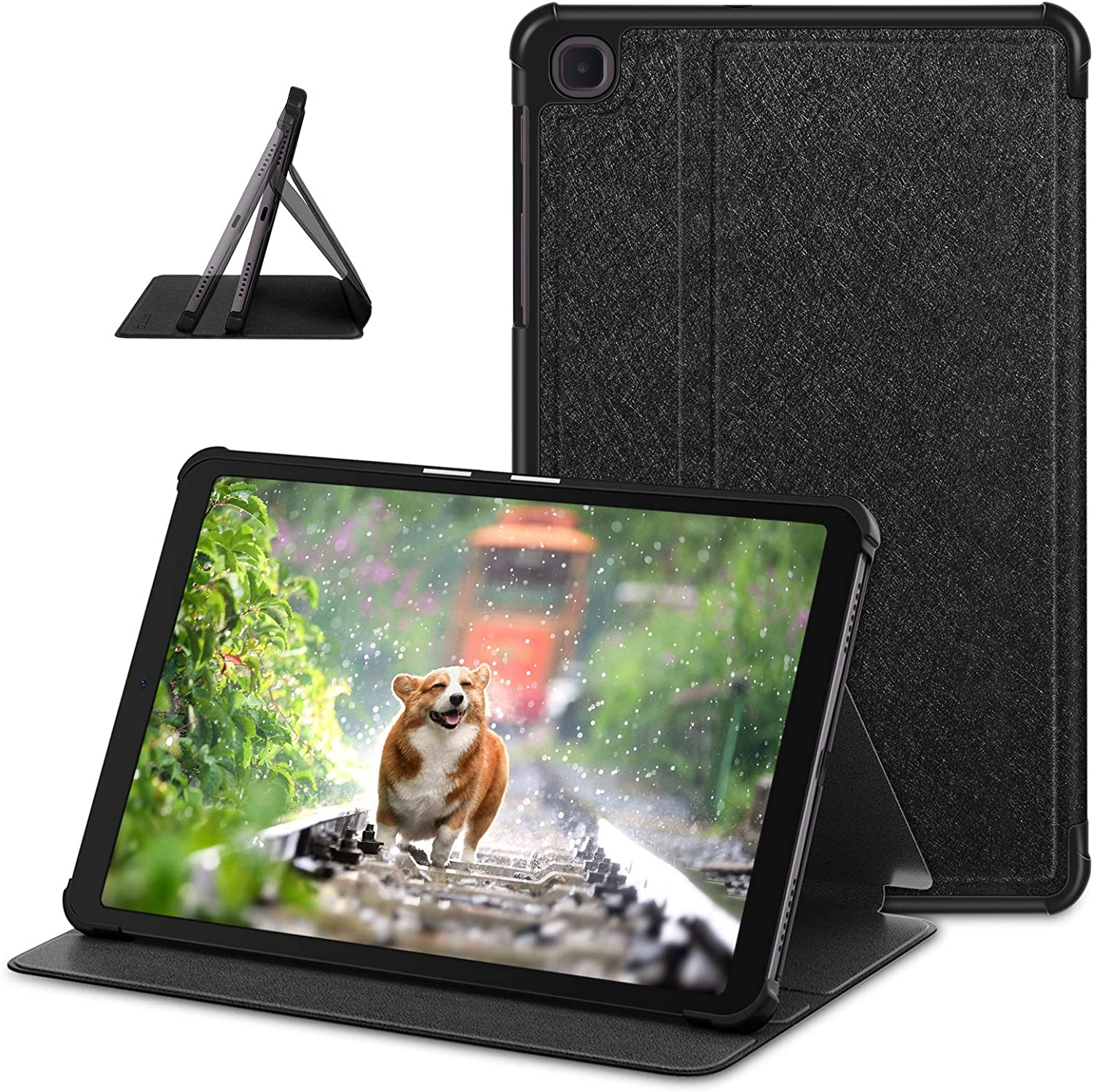 DTTO Galaxy Tab A 8.4 Inch Case 2020, Premium Silk Patterns Folio Stand Cover for Samsung Galaxy Tab A 8.4'' Tablet (SM-T307) - Multiple Angles - Black