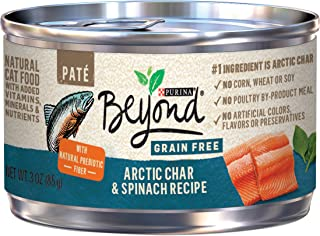 Purina Beyond Grain Free Natural, Arctic Char & Spinach Pate Recipe Canned Cat Food, 3 Oz, Case Of 12