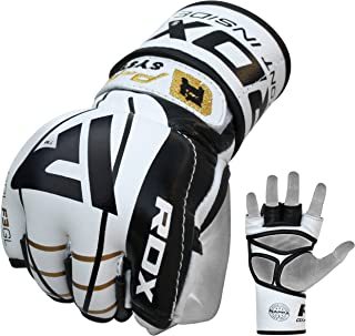 RDX MMA Gloves Sparring Cowhide Leather Grappling Training Martial Arts Cage Fighting Combat Punching Bag Gel Mitts