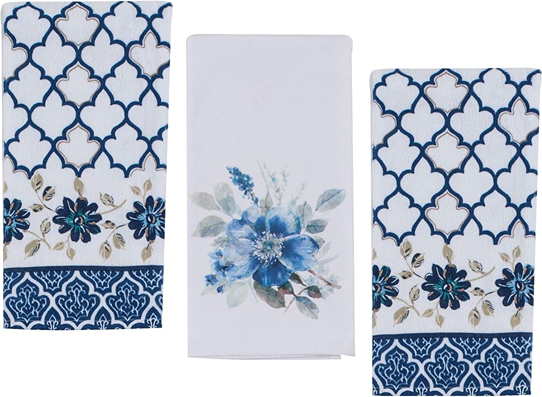 3 Bright Indigold Floral And Nature Themed Decorative Cotton Kitchen Towels Set 2 Terry And 1 Flour Sack Towel For Dish And Hand Drying By Kay Dee Designs
