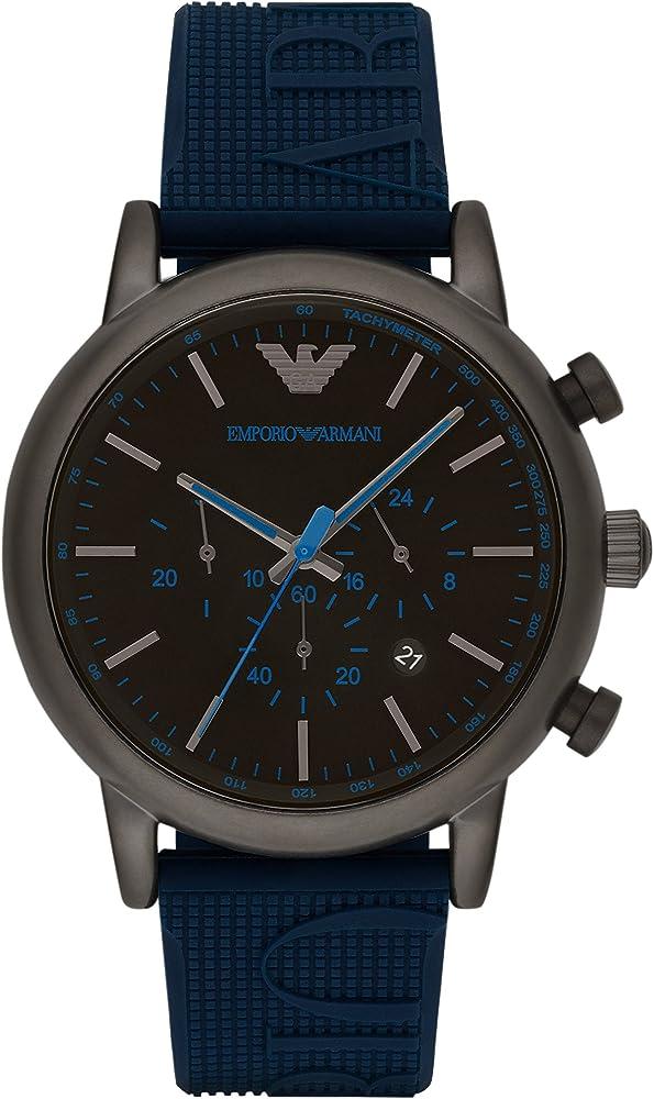 Emporio armani orologio cronografo  uomo cassa in acciaio e cinturino in silicone AR11023