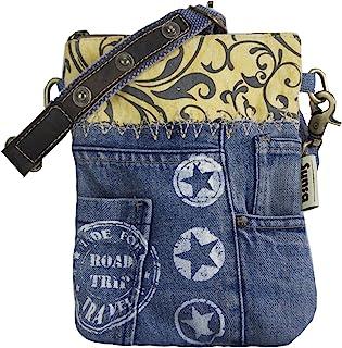 Sunsa Damen Tasche/ Umhängetasche. Kleine Bag aus Canvas & Recycelte Jeans. Nachhaltige Taschen. Crossbody Damentaschen al...