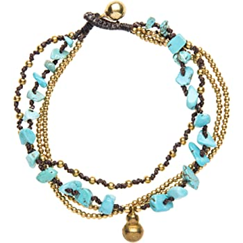 26cm 81stgeneration Womens Brass Gold Tone Simulated Turquoise Simulated Coral Anklet Bracelet
