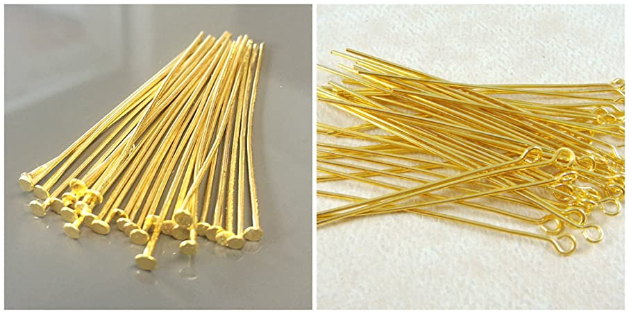 GOELX Jewelry Findings Gold -Pack of 100 Headpins & 100 Ipins