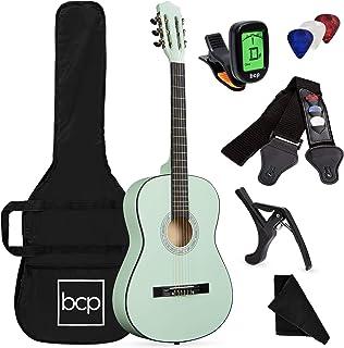 بهترین محصولات انتخابی 38in کیت شروع کننده گیتار آکوستیک چوبی با قاب ، بند ، تنظیم کننده دیجیتال ، انتخاب ، رشته ها - SoCal Green