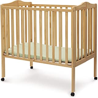 Delta Children Folding Portable Mini Crib with Mattress, Natural