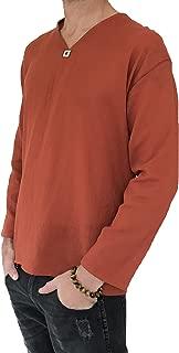 Men's Summer T-Shirt 100% Cotton Hippie Shirt V-Neck Beach Yoga Top