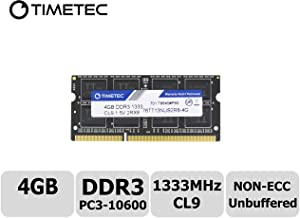 Timetec Hynix IC 4GB DDR3 1333MHz PC3-10600 Unbuffered Non-ECC 1.5V CL9 2Rx8 Dual Rank 204 Pin SODIMM Portatil Memoria Principal Module Upgrade (4GB)