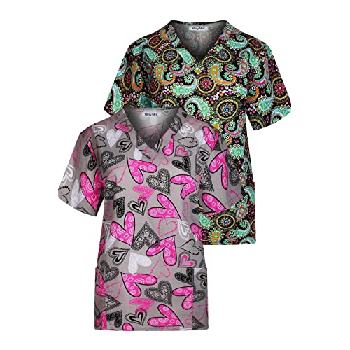 8678941ef4b Minty Mint Women's Printed V Neck Medical Scrub Top Multi Pack