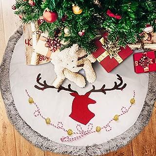 Supker Christmas Tree Skirt Large 48 inch Plush Edge Border Round Xmas Tree Skirt Reindeer Pattern Carpet Apron for Christmas Home Holiday Party Decoration