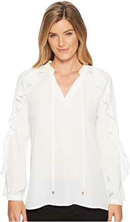 Georgette Long Sleeve Ruffle Blouse