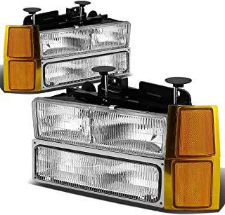 For 94-98 Chevy C10 C/K-Series OE Style Chrome Housing Headlight+Bumper Lamps+Amber Corner Lights