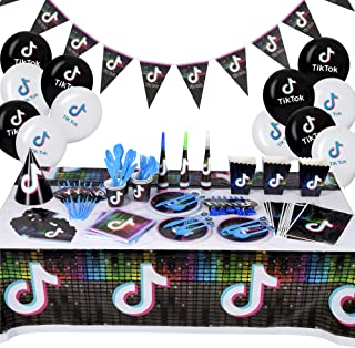 Tik Tok Party Decorations Set Serves 16 Guests 186 PCS TikTok Birthday Party Supplies for Boys and Girls