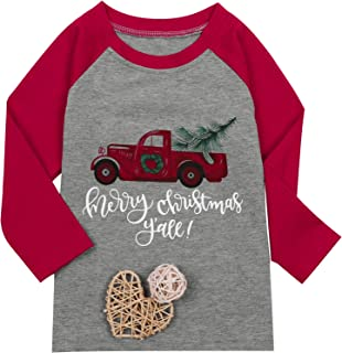 LOTUCY Mommy and Me Merry Christmas Y'all Baseball T-Shirt Women 3/4 Sleeve Family Matching Tee Tops