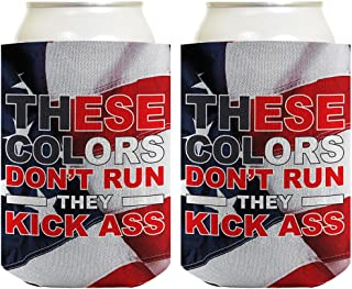 Funny Beer Coolie 4th July Colors Don't Run Kick Ass Murica 2 Pack Can Coolies