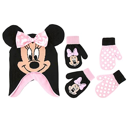 35fa3c0397c Disney Little Girls Minnie Mouse Polka Dot Hat and 2 Pairs Mittens or  Gloves Cold Weather