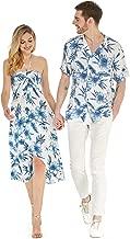 Couple Matching Hawaiian Luau Party Outfit Set Shirt Dress in Black Rafelsia