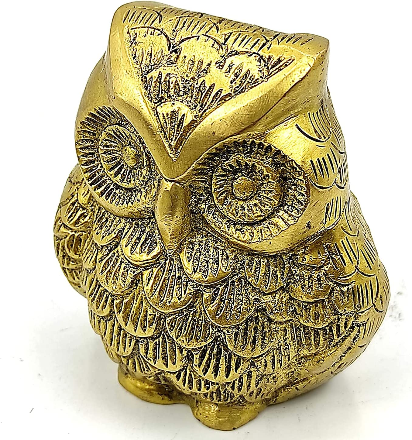 Gannon Plusvalue Brass Owl Feng Shui Vastu Symbol of Wisdom Protection for Home Office Temple (3 x 3 inch, Gold)