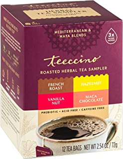 Teeccino Herbal Tea Sampler Assortment – Maca Chocolaté, French Roast, Hazelnut, Vanilla Nut – Rich & Roasted Herbal Tea T...
