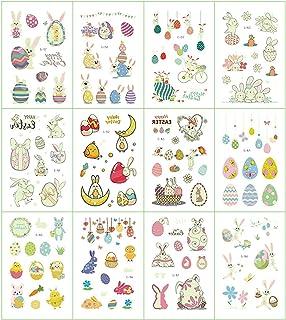 12 Vellen Pasen Tijdelijke Tattoos Stickers Cartoon Lichtgevende Paasei Konijn Kip Transfer Tattoos Waterdichte Tattoo Sti...