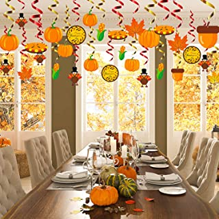 WATINC 30Pcs Thanksgiving Hanging Swirls, Autumn Thanksgiving Party Decorations with Pumpkin Turkey Maple Leaves Corn Foil Swirls for Fall Themed Party Supplies, Harvest Home Ceiling Hanging Decor