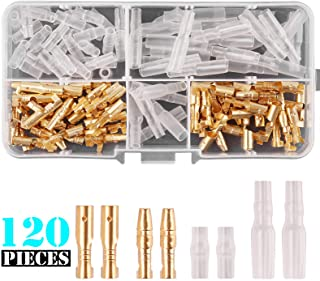 Kinstecks 120PCS 3.9mm Bullet Connectors Kit Brass Bullet Male & Female Wire Terminals Connector with Insulation Cover for...