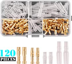 Kinstecks 120PCS 3.5mm Bullet Connectors Kit Brass Bullet Male & Female Wire Terminals Connector with Insulation Cover for Motorcycle Motorbike Car Truck Scooter Boats Electric Instruments