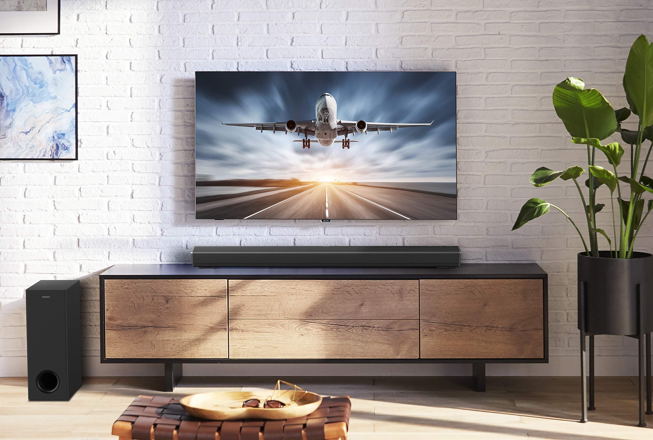 Philips PB603/10 Barra de sonido TV (Bluetooth, Dolby Atmos, 300 vatios, subwoofer inalámbrico, HDMI ARC, USB), Color Negro: Amazon.es: Electrónica