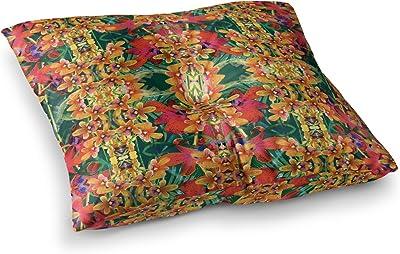 26 Round Floor Pillow Kess InHouse Jane Smith Seasons Winter Blue Red
