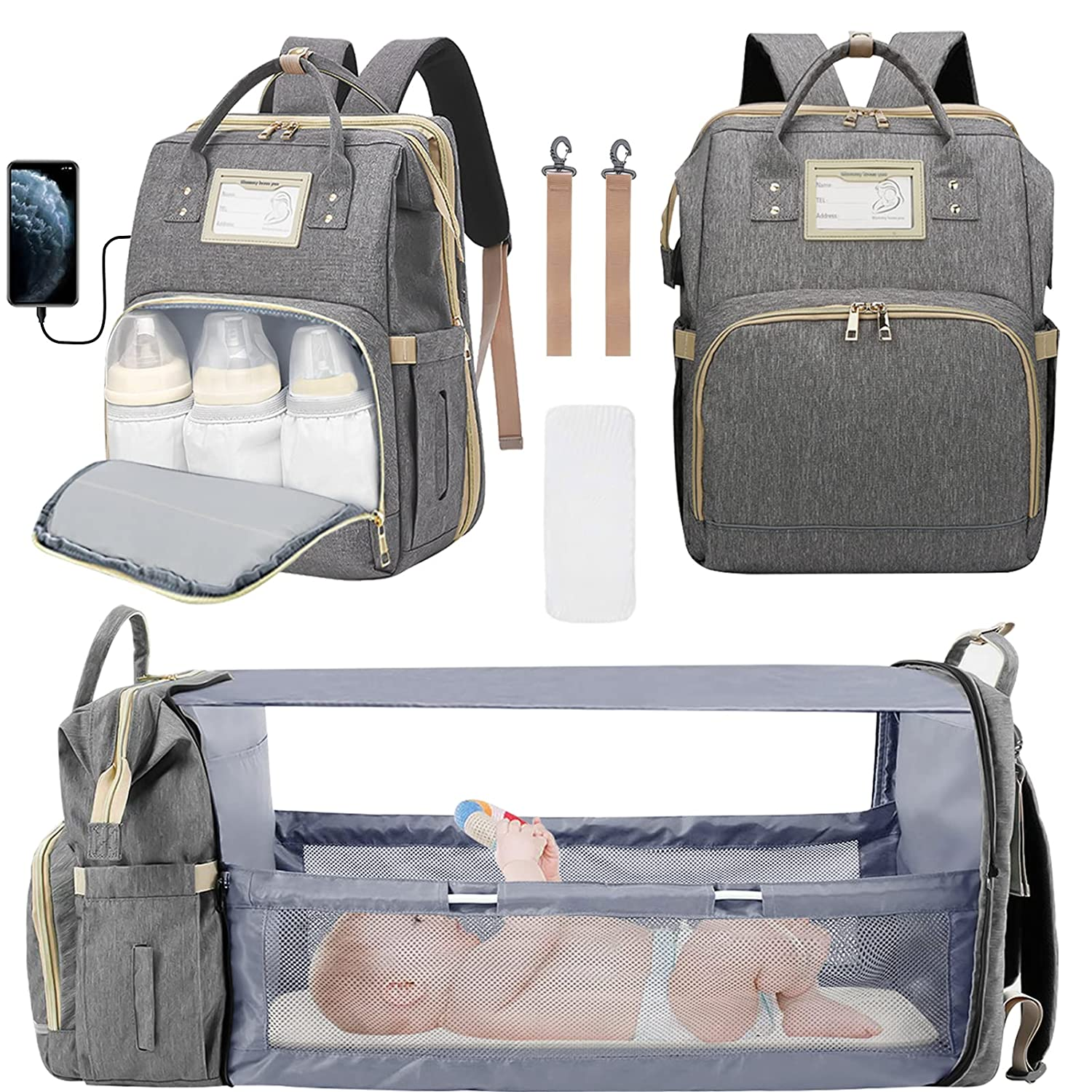 3 in 1 Diaper Bag Backpack, Foldable Travel Baby Bag with Changing Station, Portable Mommy Backpack with USB Charging Port Baby Backpack Organizer with Stroller Straps, Large Capacity Waterproof, Gray