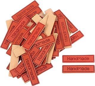 50 peças de couro PU etiqueta de roupas feitas à mão etiqueta adorno de malha para artesanato DIY para itens feitos à mão ...