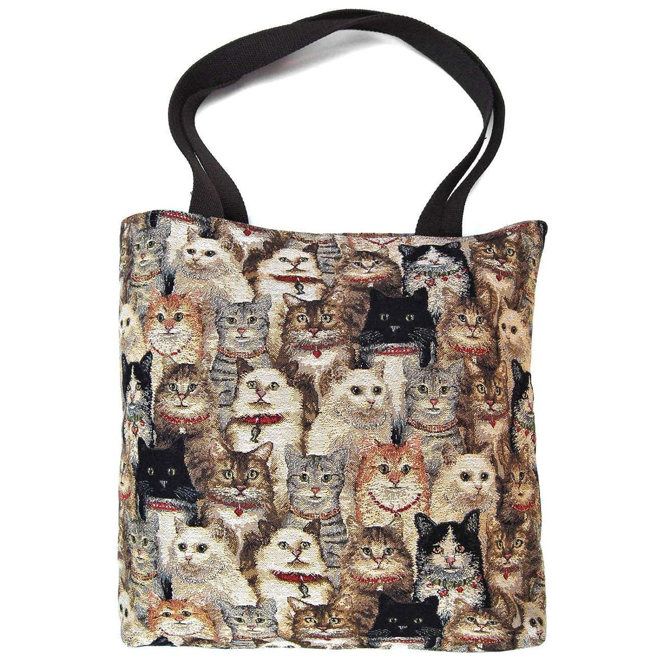 証言するキャンドル病的ゴブラン織りのトートバッグ 猫たち