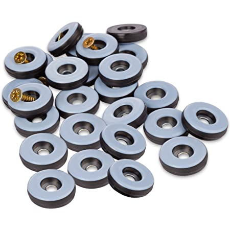 Filzada® 26x Almohadillas de Teflón para Muebles, con Tornillo - Ø 22 mm (redondo) - Deslizadores de muebles/deslizadores de alfombras PTFE (Teflón) incl. tornillos