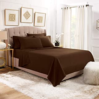 Empyrean Stronger Bed Sheet Set – Holds Longer 110 GSM Heavyweight - Luxury Soft Brushed Microfiber – 6 Piece Sheets with 4 Pillowcases – Tight Fit Straps Fitted Sheet – King, Chocolate Dark Brown