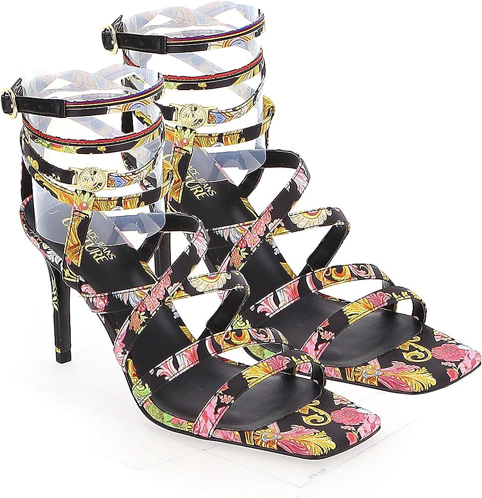 Versace jeans couture sandali da donna emily con tacco e stampa versailles colorata 50% tessuto 50% gomma EE0VWAS76E71981EM0936