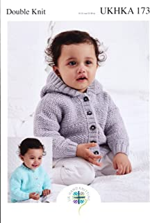 UKHKA Double Knitting Pattern - Baby Hooded or Round Neck Long Sleeved Cardigan 173