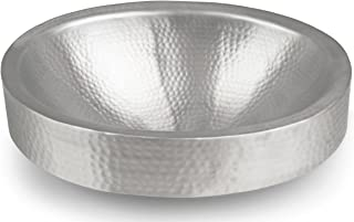 Monarch Abode Hand Hammered Oval Skirted Sink (17 inches), Matte Nickel