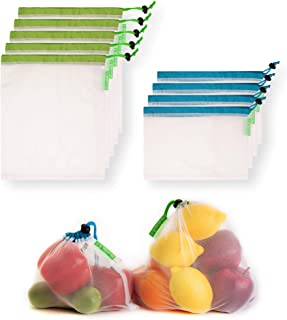 GreenerGo 9 Machine-Washable, Reusable Produce Bags: Eco-Friendly Mesh Bags Made from rPET - Fully Transparent with Drawstring - for Fruits, Veggies and More - Barcode Readable - Zero-Waste Products