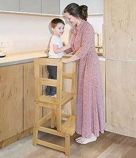 كرسي طويل للاطفال في المطبخ، كرسي لتعلم الاطفال مع حاجز يد للامان - هيكل من الخشب الصلب خفيف الوزن - مثالي لطاولة المطبخ و...