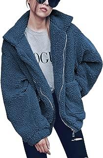 Women's Coat Casual Lapel Fleece Fuzzy Faux Shearling Zipper Warm Winter Oversized Outwear Jackets