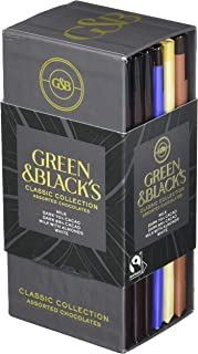 Green & Black's Chocolate Gift Set, 85% Dark Chocolate, 70% Dark Chocolate, Milk Chocolate with Almonds & White Chocolate,...
