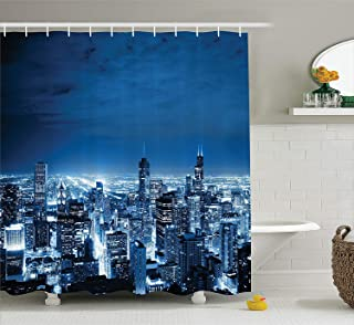 (180cm W By 210cm L, Multi 8) - Ambesonne Apartment Decor Collection, Aerial View Of Chicago Developed Success Horizon Dus...
