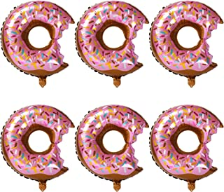 6 Pcs Big Donut Foil Balloons Large Mylar Doughnut Balloon Giant for Birthday Party Decorations Supplies Baby Shower Donut Time