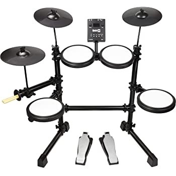 RockJam DDMESH500, 8 Piece Electronic Mesh Head, Easy Assemble Rack and Drum Module Including 30 Kits Set