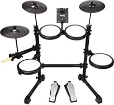 RockJam Mesh Head Kit, Eight Piece Electronic Drum Kit with Mesh Head, Easy Assemble Rack and Drum Module including 30 Kits, USB and Midi connectivity