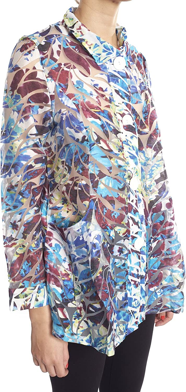 Damee Multicolor Burnout Sheer Wire Collar Women's Jacket Style 2276
