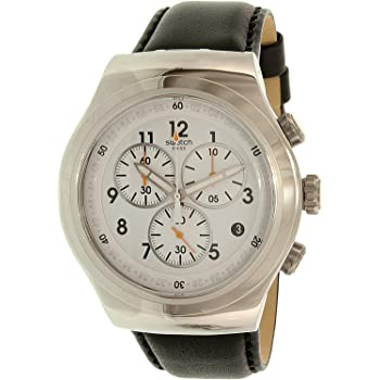 Swatch Men's L'Imposante Stainless Steel Quartz Watch with Leather Calfskin Strap, Black, 23 (Model: YOS451)